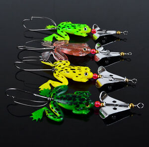 4pcs Rubber Frog Soft Fishing Lures Bass CrankBait Sinking 9cm 3.54