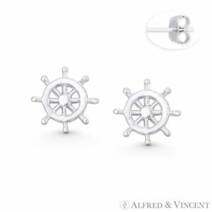 Helm Ship#x27;s Wheel Sailor#x27;s Nautical Charm Stud Earrings in .925 Sterling Silver $15.74