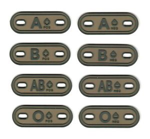 PVC Army Tactical Morale Patch Blood Type  A B AB O Camo Color