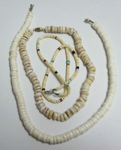 Trio of Vintage Southwest HEISHI SHELL Necklaces