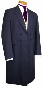 UNDER MENS NAVY BLUE VICTORIAN STAGE FROCKCOAT WEDDING LONG LENGTH JACKET $56.16