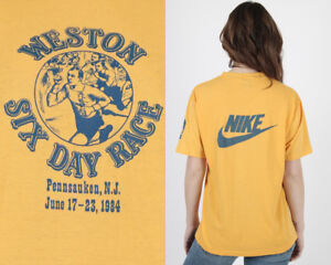 Vtg 80s Nike Blue Label Running Weston Six 6 Day Race 1984 Yellow Swoosh T Shirt