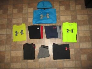 Lot of 8 boy's UNDER ARMOUR compression sweats tee hoodie base layer - MED