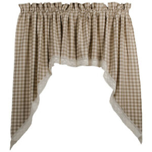 New Cottage Chic Tan Cream Gingham Check Lace Trim Cafe Swags Curtains