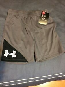 Boy's Under Armour athletic shorts Gray Black & White Size 3T NEW  NWT