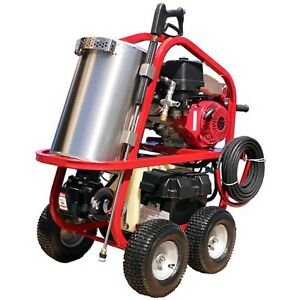 Portable Hot Water Pressure Washer - 3500 PSI - 3 GPM - 10hp Gas - Diesel Heated