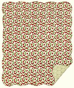 New Cottage Chic RED CHERRY Cherries Quilted Reversible Blanket Throw