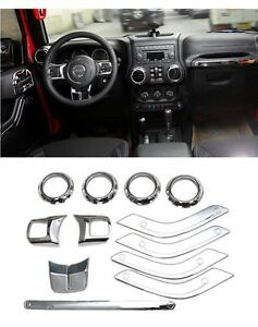 Full Set Car Accessories Interior Decoration Trim Kit Cover For Jeep Wrangler JK
