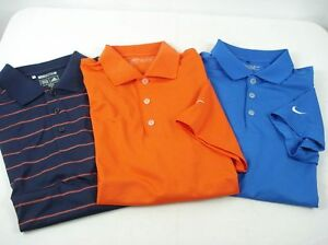 Lot of 3 NIKE GOLF ADIDAS Polo Shirts Dry Fit Assorted Colors sz M 7-81
