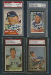 (23) YANKEES MICKEY MANTLE AUTOGRAPH CARD LOT 1952 TO 1969