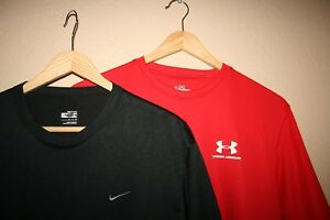 Mens NIKE FIT DRY + UNDER ARMOUR Polyester Gym Logo T-Shirt LOT OF 2! SMALLS S