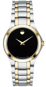 Movado Swiss Collection PVD Black Dial Two Tone Bracelet Womens Watch 0606897 SD
