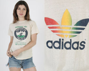 Vintage 80s Adidas Rainbow Trefoil Running Race Track Sports Thin Tee T Shirt M