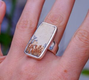 Genuine Scenic Dendritic Agate set in Wide Band 925 Sterling Silver Ring size 8