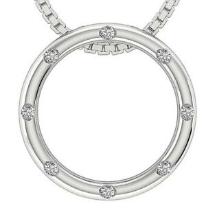 Circle Pendant Necklace 0.30Ct Natural Diamond White Yellow Rose Gold Bezel Set