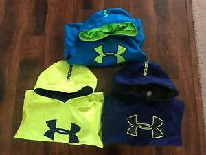 Youth Lot 3 Boys Under Armour Hoodies size S Loose Storm GreenBlueNavy