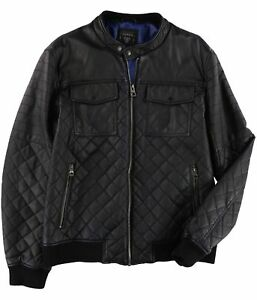 GUESS Mens Faux Leather Motorcycle Jacket jetblack 2XL