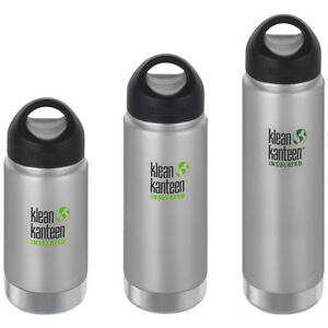 Klean Kanteen Wide Insulated Bottle with Loop Cap - Brushed Stainless