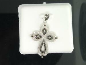Ladies 10K White Gold Black Diamond Jesus Cross Pendant Charm For Necklace .55Ct