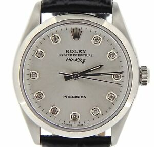 Rolex Air King Mens Stainless Steel Watch Black Strap Silver Diamond Dial 5500 $3587.98