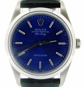 Rolex Air King Mens Stainless Steel Watch Black w Submariner Blue Dial 14000 $3863.98