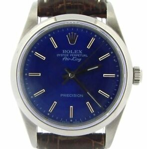 Rolex Air King Mens Stainless Steel Watch Brown w Submariner Blue Dial 14000 $3863.98