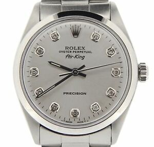 Rolex Air King Mens Stainless Steel Watch Oyster Band Silver Diamond Dial 5500 $3955.98