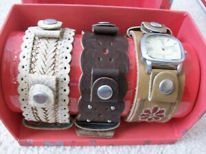Fossil Ladies Interchangeable Bracelet Watch SET~3 Leather Bands~NEW $85