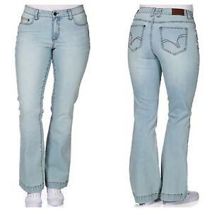 Sheego @ Kaleidoscope Size 16 R Blue Denim Flared Relaxed Stretch JEANS £59