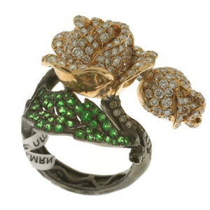 0.9ct Natural Diamond Pave Gemstone Floral Ring 18k Solid Gold Designer Jewelry