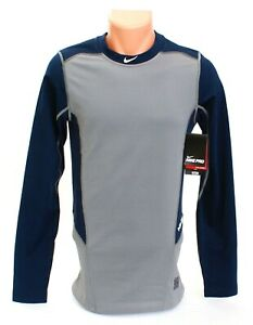 Nike Pro Dri Fit Gray amp; Blue Fitted Long Sleeve Baseball Shirt Mens NWT $52.49