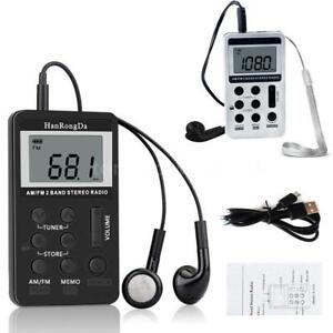 Mini Portable Pocket FM/AM 2 Band Radio Receiver Rechargeable Battery w/Earphone