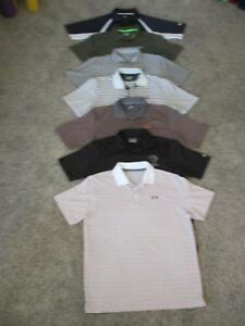 lot 7 UNDER ARMOUR HEAT GEAR LOOSE FIT POLO GOLF SHIRTS MEN SIZE LARGE L