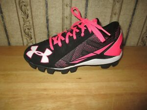 Girl's UNDER ARMOUR blackneon pink BASEBALL CLEATS - size 2 youth - BARELY WORN