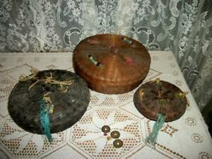20s ART DECO ERA CHIC 3 CHINESE COIN BEADS WICKER SEWING BASKETS SHABBY OLDIES $51.69