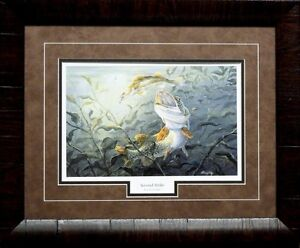 Terry Doughty Second Strike Bass Framed Fishing Print 21 x 17