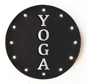 YOGA Exercise Health Fitness Club Lift Rustic Round Metal Light Up Marquee Sign