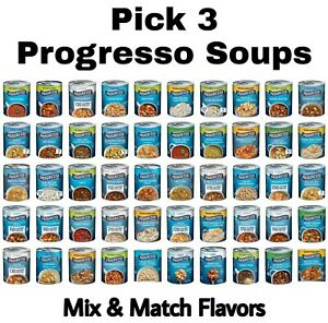 Pick 3 Progresso Soup Cans Choose any 3 Flavors Mix amp; Match $18.99