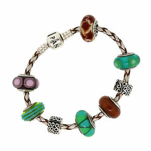 Pandora Sterling Silver GreenBrownPurple Murano Glass Leather Charm Bracelet
