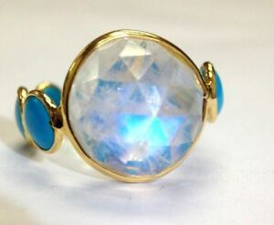 Glorious Rose Cut Moonstone and Natural Turquoise 18K Yellow Gold Ring Size 6.5