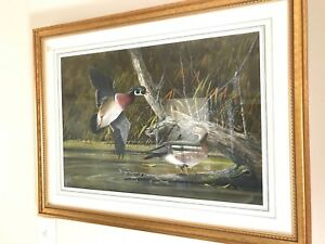 AUTUMN WOODIES  RONNIE WELLS ORIGINAL WATERCOLOR PAINTING  WOOD DUCKS