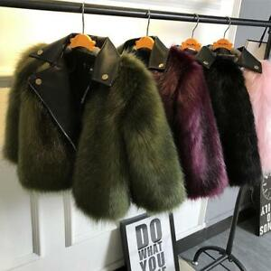 Childrens New Winter Thicken Jacket Girl Chic Fur Leather Stitching Outdoor Coat