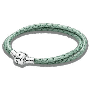 Pandora 925 Silver ALE Double Green Braided Leather 16.1
