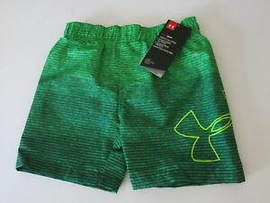 Under Armour Toddler Boys 2T  Surf Swim Trunks Board Shorts Green Lined