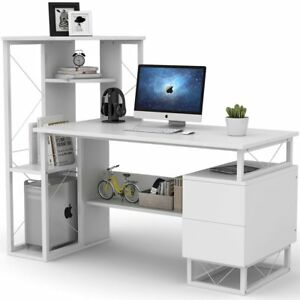 Home Office 57'' Computer Study Desk with Corner Tower Shelves and Two Drawers