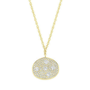 0.54CT 14K Yellow Gold Floating Diamond Pave Oval Pendant Necklace