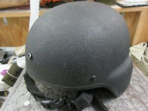 GENTEX LITE WEIGHT TBH BLACK TACTICAL HELMET MICH ACH SIZE LARGE USED