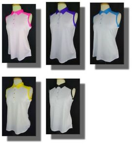 New Women's Cutter & Buck Striped Sleeveless Polo Shirt M nwt 5 Colors Available
