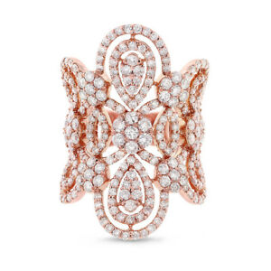 4.43CT 18K Rose Gold Antique Design Long Wide Diamond Lace Cocktail Ring Vintage