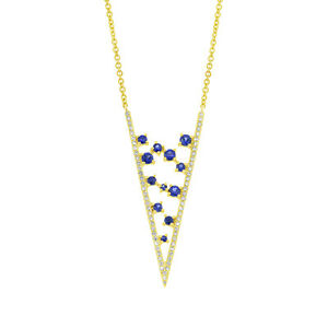 0.71tcw 14K Yellow Gold Floating Blue Sapphire & Diamond V Pendant Necklace